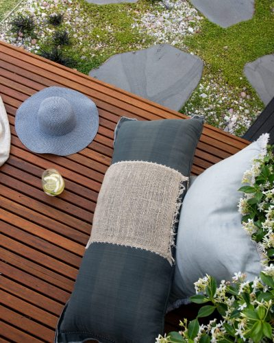 Outside In Wooden Bench Throw Cushions