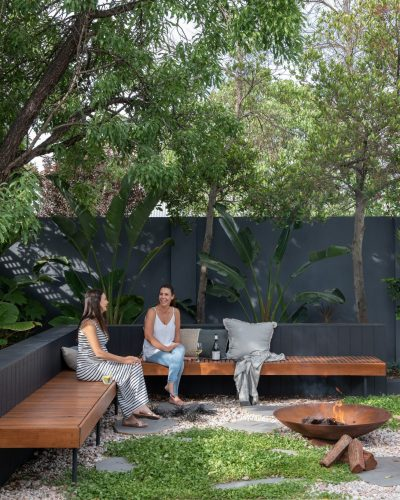 Outside In Garden Greenery with Wooden Bench